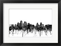 Framed Kansas City Missouri Skyline - Cartoon B&W