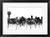 Framed Knoxville Tennessee Skyline - Cartoon B&W