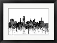 Framed Lansing Michigan Skylines - Cartoon B&W