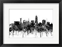 Framed Lincoln Nebraska  Skyline - Cartoon B&W