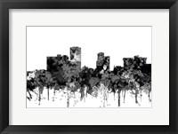 Framed Little Rock Arkansas Skyline - Cartoon B&W