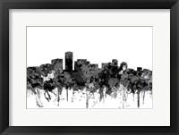 Framed Long Beach California Skyline-  Cartoon B&W