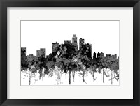 Framed Los Angeles California Skyline - Cartoon B&W