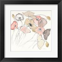 Framed Black Line Poppies II Watercolor Neutral