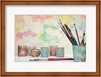 Framed Paint Brushes Still Life