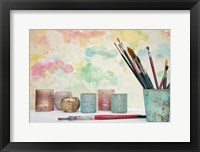 Framed Paint Brushes Still Life