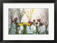 Framed Spring Flowers in Glass Bottles I