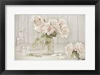 Framed Vintage Roses in Antique Glass