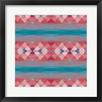 Framed Ethnic Pattern Red Blue