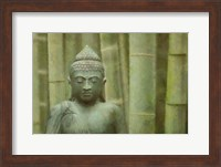 Framed Bronze Buddha With Bamboo