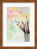 Framed Paint Brushes and Aquarel