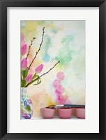 Framed Tulips and Paint Brushes