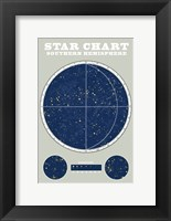 Framed Southern Star Chart Blue Gray