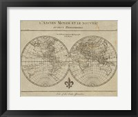 Framed Map of the World Sepia