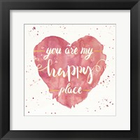 Framed Happy Hearts II Pink