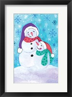 Framed Happy Snowman and Baby
