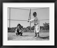 Framed 1960s Two Boys Playing Baseball