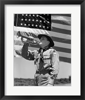 Framed 1940s Boy Scout Playing Bugle