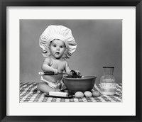Framed 1960s Baby Seated On Checkered Tablecloth