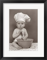 Framed 1940s 1950s Baby Cook With Chef Hat