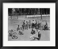 Framed 1950s 10 Neighborhood Boys Playing Sand Lot Baseball