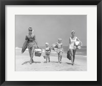 Framed 1950s Family Of Four Walking Towards Camera