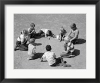 Framed 1950s Boys & Girls Shooting Marbles