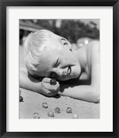 Framed 1950s Boy Crouching Shooting Marbles