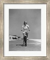 Framed 1940s Summer Time Smiling Woman Riding Bike On Beach Boardwalk