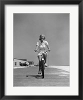 Framed 1940s Summer Time Smiling Woman Riding Bike On Beach Boardwalk