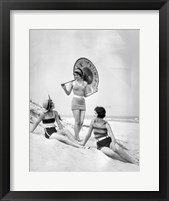 Framed 1920s Three Smiling Women In Swimsuits At The Beach