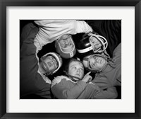 Framed 1960s Five Boys In Huddle Wearing Helmets & Football Jerseys