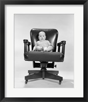 Framed 1960s Baby Sitting In Executive Office Chair