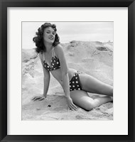 Framed 1950s 1960s Brunette Bathing  Stretched Out On Sand?