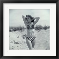 Framed 1950s Brunette Beauty In Polka Dot Bikini Standing In Sand