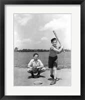 Framed 1930s Two Boys Batter And Catcher Playing Baseball