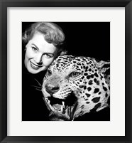 Framed 1950s Woman Face Posed With Growling Stuffed Leopard Head