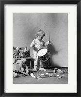 Framed 1930s Boy Beating On Toy Drum