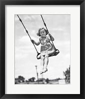 Framed 1930s 1940s Smiling Girl On Swing Outdoor