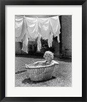 Framed 1930s 1940s Girl Outdoors Sitting In Laundry Basket