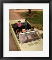 Framed 1970s African American Family Seated In Convertible Car