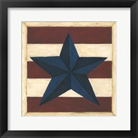 Framed Blue Star, Red Stripes
