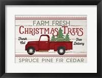 Framed Vintage Truck Farm Christmas Trees