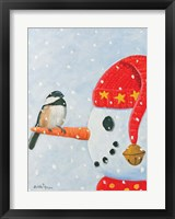 Framed Snowman & Chickadee