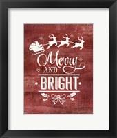 Framed Merry & Bright Santa