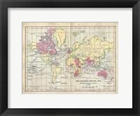 Framed Vintage British Empire Map