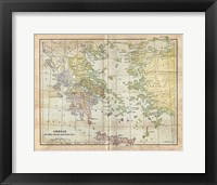 Framed Vintage Greece Empire Map