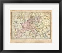 Framed Vintage Napoleon Empire Map