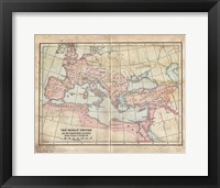 Framed Vintage Roman Empire Map