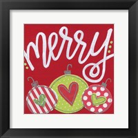 Framed Red Ornaments Merry
